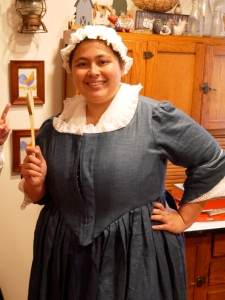 """I transformed myself and my classroom into a one room school house during my """"Now and Long Ago"""" unit. My first graders came in and experienced a day in the life of a one room school house! Yup, I had that dress custom made and the kids loved the fact that I carried around a yard stick."""